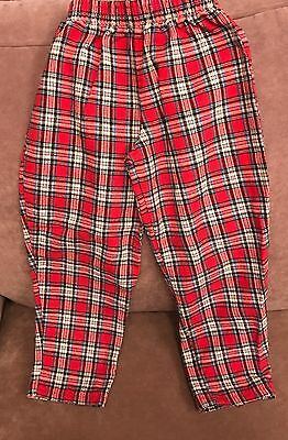 """Vintage """" Buster Brown"""" Toddler Unisex Red Plaid Pants Size 3T"""