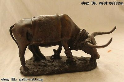 """6""""Chinese Folk Bronze carved excellent Lucky Lifelike beautiful Ox Statue"""