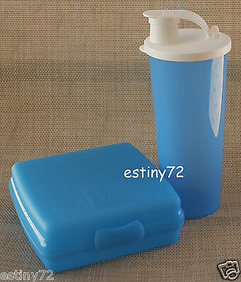 Tupperware Kids Sandwich Keeper & Tumbler With Spout Set Surf Blue & White New