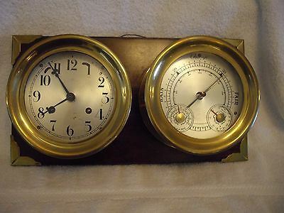 Brass Ships Clock and Barometer