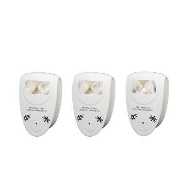3 x Electronic EU PLUG in ultrasonic RODENT PEST FLY REPELLER Mice Rats Mosquito