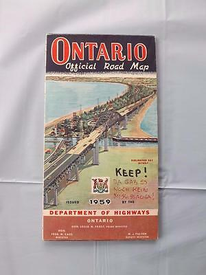 Ontario Official Road Map 1959 Department Of Highways