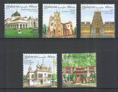 Malaysia 2016 Places Of Worship (Mosque,church,temple) Comp. Set Of 5 Stamps Mnh