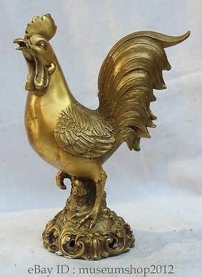"10"" Chinese Fengshui Pure Brass animal 12 Zodiac Year crow Rooster Cock Statue W"