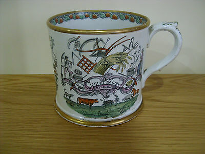 A Superb Early 19Th Century Creamware Commemorative Mug Possibly Liverpool