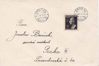 Czechoslovakia 1943 Cover with Reinhard Heydrich adh at Praha {See Below}