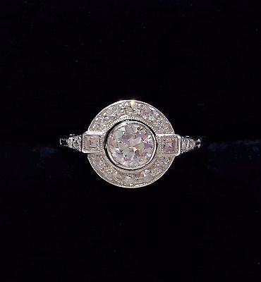 Antique Art Deco 0.70ct Diamond Target Ring in 18ct White Gold