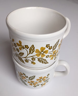 2 x Vintage Cups With Olive Green Floral Pattern - Retro Kitchenalia!