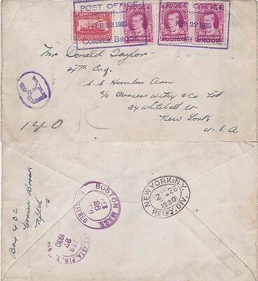 Newfoundland 1930 Registered cover from  Cornerbrook and sent to  USA