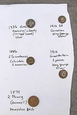 antique small FOREIGN COINS & US lot SILVER 1936 1913 1886 1874 (see photos)
