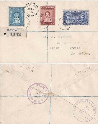 Newfoundland 1939 Registered cover from  Bptwood aSent to England {below}