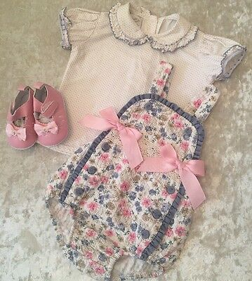 PRETTY ORIGINALS 2Peice Romper Outfit With Shoes 9m Sweet Pink Bows NEW Spanish