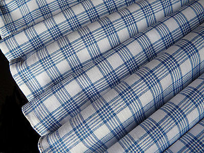 Vintage French woven linen fabric Blue white gingham, check from 1900s v.g.c
