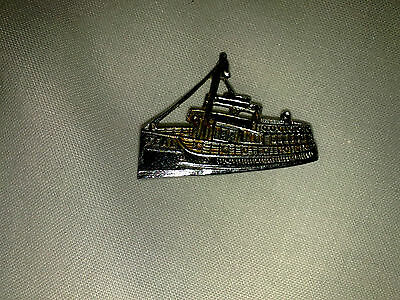 Vintage Silver Colour Badge Pin TEAL Fishing Boat