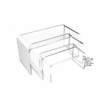 "Clear Acrylic 1/8"" Short Rectangle Riser 3 Piece Set Display Stands"