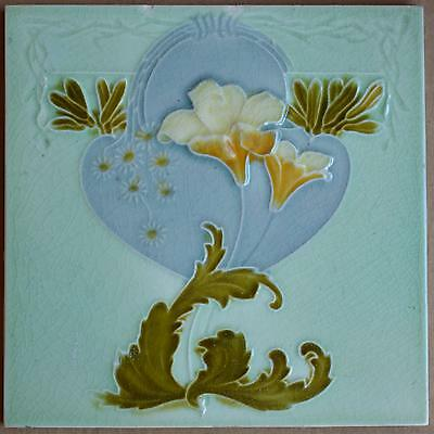 Alfred Meakin - Flower - Antique Art Nouveau Majolica Tile C1900