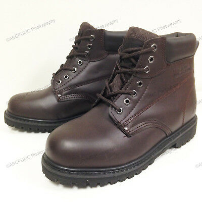 """New Men's Work Boots 6"""" Brown Leather Water Resistant /Oil Resistant Sizes:6-15"""