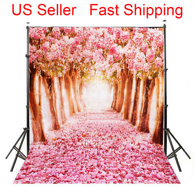 5x7FT Flowers Tree Road Baby Studio Props Photography Background Photo Backdrop