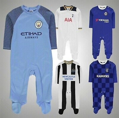 Baby Boys Branded Team Club Colours Football Press Stud Sleepsuit Size 0-18 Mnth