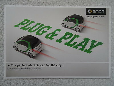 """Smart Fortwo Electric Drive Car Brochure 2011 - """"The perfect electric car...."""""""