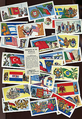 """Musgrave Tea 1961 Set Of 25 """"products Of The World"""" Flags Tea Cards"""