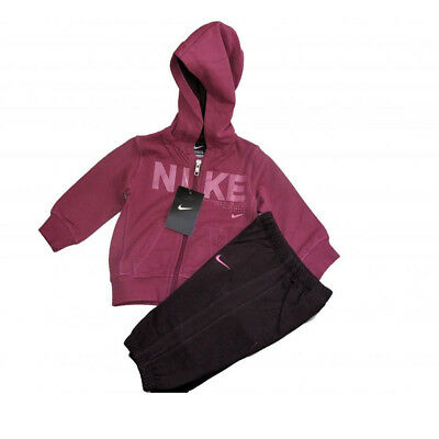 Nike Infants baby  girls fleece dark pink purple warm hooded full tracksuit set