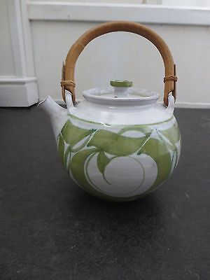 Aldermaston pottery large teapot in green and white bamboo handle