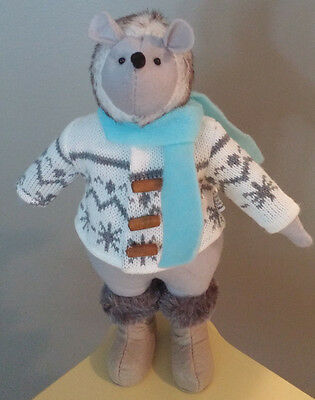 """WO X ANIMALS IN SWEATERS Collectible MOUSE Figure Stuffed Fur Boots Decor 12"""""""