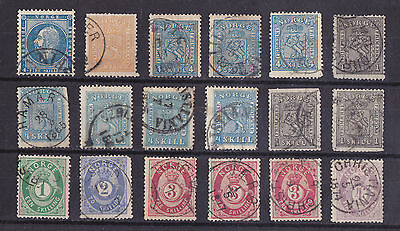 NORWAY Used Classic Lot of 18 Stamps Unchecked Mixed Quality