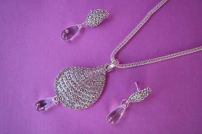 Indian Ethnic Bollywood Style Silver Tone Fashion Jewelry Necklace Set