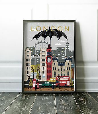 London Wall Art Poster - bold & colourful modern print, various sizes available