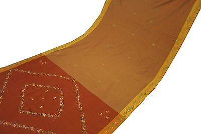 Vintage Indian Sari Embroidered Fabric Brown Craft Curtain Decor Traditional Art