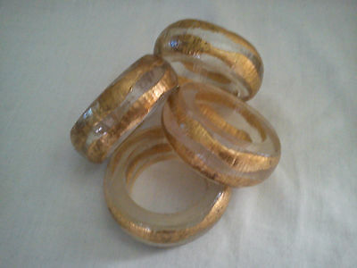 Vintage Set Of 4 Hard Plastic? Napkin Rings with Gilt Decoration