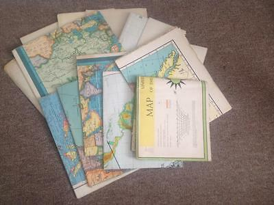 Vintage Lot of 14 Assorted Rare Wall Maps 1939 - 1964