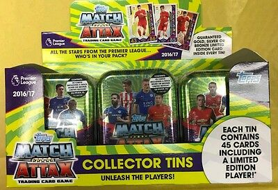 MATCH ATTAX Pemier League 2016 17 display box of 12 Collectors Tins