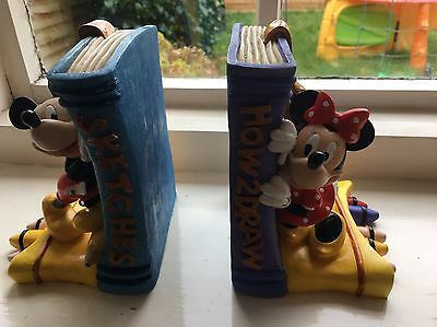 Disney Mickey Minnie Mouse Bookends DAMAGED