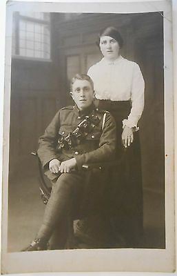 Vintage RP Postcard Named Military Gentleman Doctor Lewis & Wife Portrait