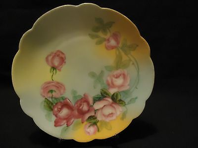 """Antique PINK ROSES Floral Hand Painted Porcelain 8 3/8"""" Scalloped CABINET PLATE"""