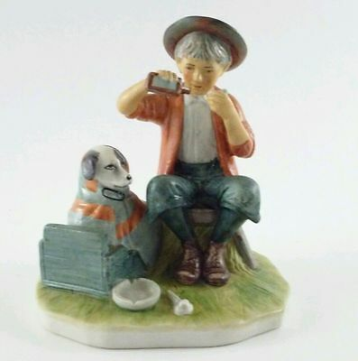 NORMAN ROCKWELL PORCELAIN FIGURINE A BOY AND HIS DOG Excellent CONDITION