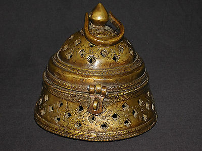 Vintage Brass Hindu temple Jali work incense box from India