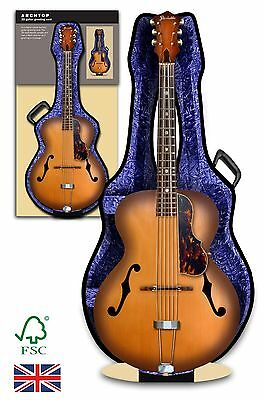 Archtop Acoustic Sunburst Guitar and case 3D greeting card Birthday, anniversary