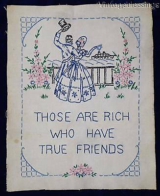 Sweetest Vintage 20-30s Friendship Sampler ~Those are rich who have true friends