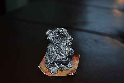 Detailed Racoon Figurine - Holding Fish - Miniature - Edmond Wolf Jr. Wildlife