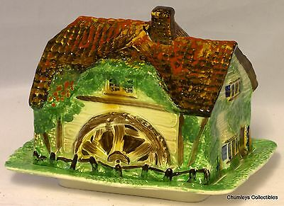 Vintage Winton Style Cottage with Water Wheel – Butter Dish  / Cheese Dish