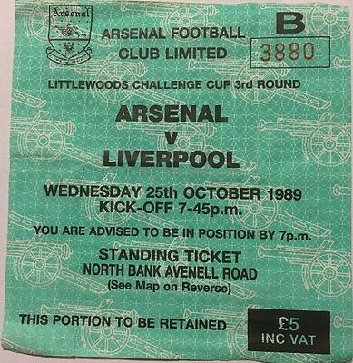 Arsenal Vs Liverpool Ticket 25/10/1989 Littlewoods Challenge Cup 3rd Round