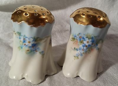 Antique/Vintage Salt & Pepper Shakers, Signed,  Lt. Blue & White floral, Estate