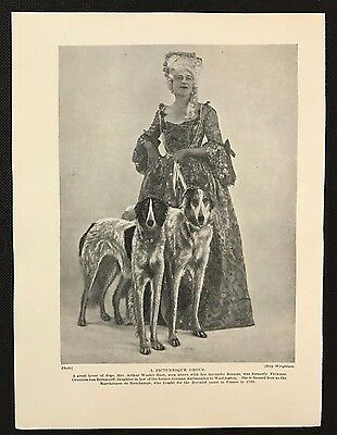 Original 1934 Dog Print / Bookplate - BORZOI, Lady dressed as Marchioness & Dogs