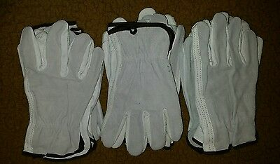 Cowhide Leather Work Gloves  4 Pair, Large.   Industrial Grade.  Free Shipping