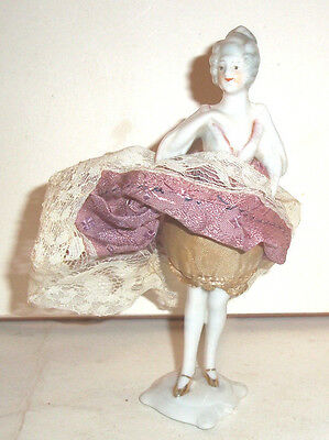 Rare Antique Porcelain Standing Pin Cushion Doll c1900