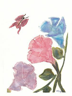 8 x 10 - LILIES WATERCOLOR - CHINESE BRUSH PAINTING STYLE - ORIGINAL PRINT